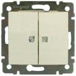 VAL774345 Выключатель двухклавишный с индикацией 10А-250 В слон. кость