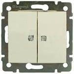 VAL774112 Переключатель на два напр. двух клавишный с подсв. слон.кость