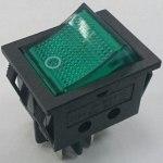 Выключатель IRS-201-3C-G, с подсветкой, 220В, 15А, 4 конт ON-OFF, зеленый