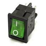 Выключатель MIRS-201(А)- 4 контакта, 18х13мм, зеленый, крепление защелка,с подсветкой  220В (on-off)
