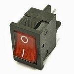 Выключатель MIRS-101- 4 контакта, 19х13мм, красный, крепление защелка, с подсветкой 220В (on-off)