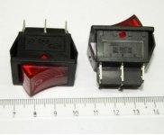 Выключатель IRS-202-1C, 6 контактов, 21,7х28,5мм, красный, крепление защелка, 220В (on-on)