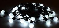 Гирлянда уличная Шарики черная нить 10 м, 100 LED с контр. 8 р белый