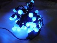 Гирлянда уличная Шарики черная нить 10 м, 100 LED с контр. 4 р синий