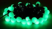 Гирлянда уличная Шарики черная нить 20 м, 200 LED с контр. 4 р зеленый
