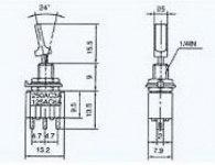 Тумблер 3 конт ON-ON 3A 220V MTS-102-E1