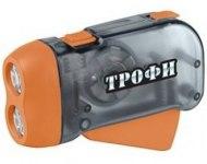 Фонарь Трофи TD2 (Динамо) 2 светодиода, линза, ремешок на руку, пластик