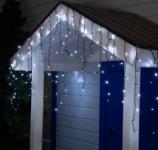 Гирлянда Бахрома уличная, 3*0,6 м 160 LED с контр. 8 р белый, темная нить, УМС