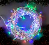 Гирлянда Нить уличная, 10 м 100 LED с контр. 8 р мульти, белая нить, УМС