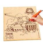 Доска для выжигания и росписи по дереву Танк Т-34