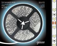 Светодиодная лента 2835/60 холодный белый 4.8W 12V DC Gauss