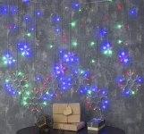 Гирлянда Бахрома 2,4*0,9 м 150 LED Снежинки с контр. 8 р мульти, нить силикон