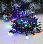 Гирлянда Нить 5 м 50 LED с контр. 8 р мульти, темная нить