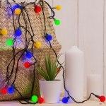 Гирлянда Нить цветные шарики 5 м 30 LED с контр. 8 р мульти, темная нить