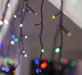 Гирлянда Бахрома уличная, 3*0,6 м 160 LED с контр. 8 р мульти, темная нить, УМС