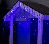 Гирлянда Бахрома уличная, 3*0,6 м 160 LED с контр. 8 р синий, темная нить, УМС