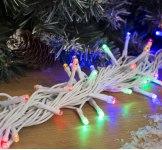 Гирлянда Нить уличная, 10 м 100 LED с контр. 8 р мульти, белая нить