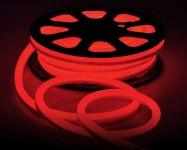 Лента Гибкий Неон GLS-2835-120-9.6-220-NL-IP67-R катушка 50м +шнур питания красный