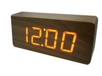 Часы VST 865 сетевые красные, темно-коричн