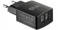 Зарядное устройство на 2 USB порта 2100 мА Ubik UHE22 черное